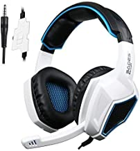 Gaming Headset for PS4 Xbox One Controller,Sades SA920 3.5mm Wired Over Ear Stereo Gaming Headphones with Microphone for PC iOS Computer Gamers Smart Phones Mobiles Tablet(Black White)