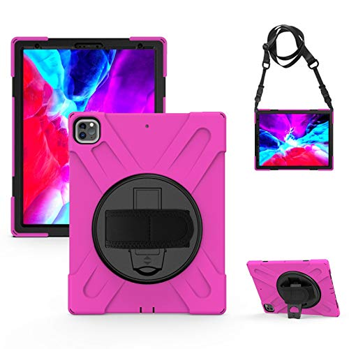 Jacquelyn Protective Cover with Pen Holder Rotatable Stand Hand strap and Shoulder Belt, Shockproof Rugged Case for iPad Pro 11 inch 2020 2nd Gen/2018 1st Gen (Color : Pink)