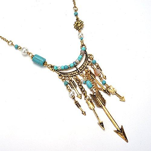 Pinzhi femmes Attrape-rêves Turquoise de longue suspendue chaînes Colliers Veste en tricot vin lecture Bijoux sachen