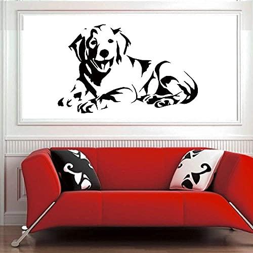 Pegatinas De Pared Velcro Gem Labrador Perro Cachorro Golden Retriever Acostado Niño Y Niña Decoración De La Pared De La Habitación Diy Vinilo Etiqueta De La Pared 68X42Cm