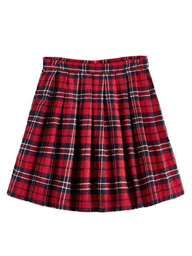 SheIn Women's Plus Size Basic Plain Flared Skater Mini Short Skirt Red 3X-Large Plus