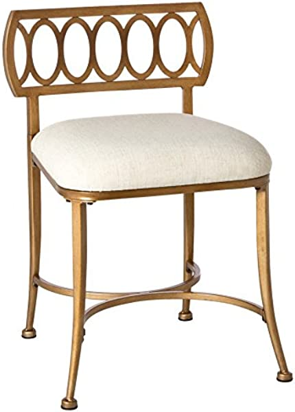 Hillsdale Canal Street Gold Bronze Vanity Stool