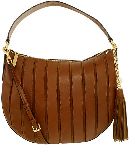 Michael Kors Women\'s Large Brooklyn Applique Convertible Suede Leather Top-Handle Bag Hobo - Caramel