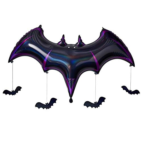 XXL Folien-Ballon-Set Halloween-Balloon Fledermaus schwarz & lila metallic inkl 4 Fledermäuse aus Pappe zum Aufhängen Luft-Ballon Halloween-Deko-ration Motto-Party Grusel Helium-Balloon Raum-Deko