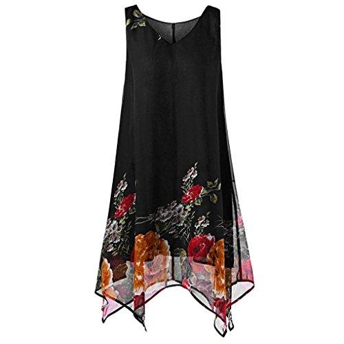 VEMOW Heißer Sommer Elegante Damen Frauen Plus Size Blumendruck Chiffon Sleeveless Unregelmäßige Beiläufige Tägliche Party Strand Urlaub Hem Minikleid(Schwarz, 54 DE / 5XL CN)