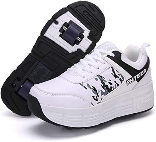 XPF Zapatos Infantiles con Ruedas Zapatos De Skate con Ruedas Patines En Linea,White-34