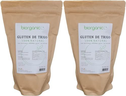 Biorganic Gluten de Trigo 100% Natural | 2 Kg | Keto | Vegano | Ideal para masas y para elaborar Seitán