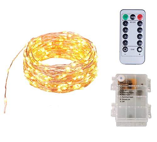 Funciona con pilas A prueba de agua 8 modos 100 luces de cadena de hadas LED con control remoto, 10 metros de largo...