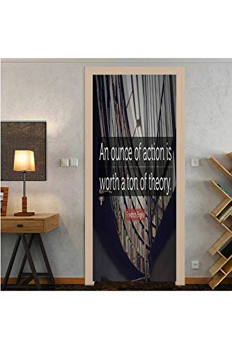 """(W30.3 x L78.7 Inch)""""an Ounce of Action is Worth a ton of Theory."""" Friedrick Engels Door Mural Wallpaper Stickers New 3D Canvas Removable Decals for Home Decoration"""