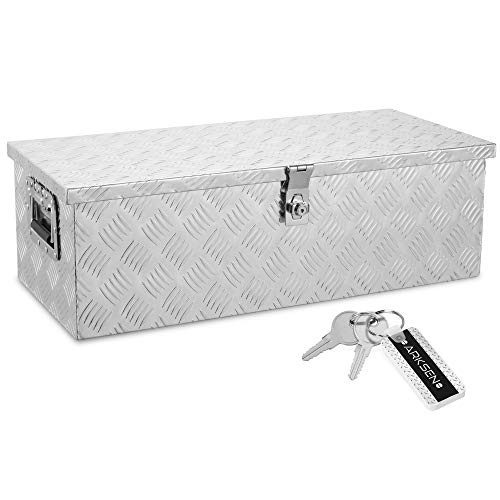 ARKSEN 30 Inch Aluminum Trailer Tool Box Chest box Pickup Truck Bed Storage Toolboxes Organizer Side Handle, Lock w/ 2 Keys, Silver