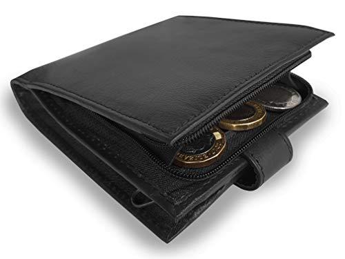 Portafoglio da Uomo in Pelle – Comparto Banconote e Portamonete Entrambi con Zip - 11cm X 9 x 2cm ROAMLITE RL180K
