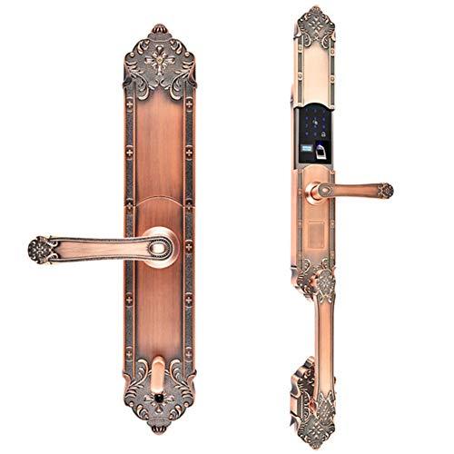 Serrure de porte intelligente, Sécurité Porte d'empreintes digitales Serrure Appartement porte cuivre pur européenne double tête en bois de verrouillage de porte for la maison Installation de bricolag