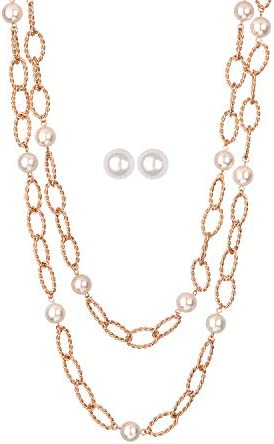 Jones New York Gold Two Twisted Chain White Pearls Necklace and Earrings Set product image