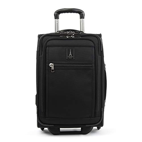 Travelpro Crew Expert-Softside Expandable Rollaboard Upright Luggage, Jet Black, Carry-On 20-Inch