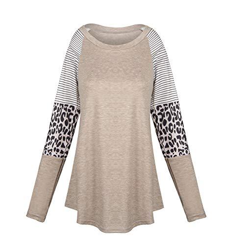 db11 Women's Long Sleeve Tunic Top Color Block Shirt Leopard Print Sleeve Top, Biue, 36
