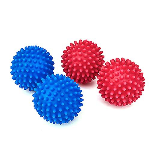 4 bolas de secado para secadora de ropa, bolas de secado de tela suavizante, bolas de lavado reutilizables para secadora cubos de secadora para no derretir, material más suave, azul y rosa