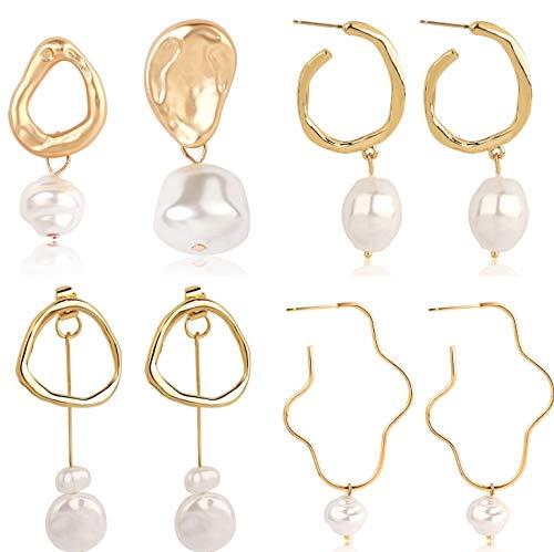 4pcs / set Vrouwen Bohemen Jurken Pearl Earring Suit Groothandel Parel Oorbellen Dames Holiday Earring sieraden Gifts (Size : B)