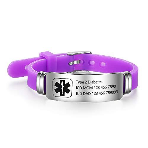 Personalized Silicone Adjustable Medical Alert Bracelets Waterproof Sport Emergency ID Bracelets for Men Women (Purple)