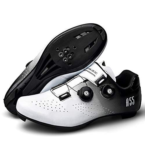 RHSMQ Scarpe da Bicicletta da Ginnastica Professionali Scarpe da Ciclismo Scarpe da Bici Autobloccanti da Uomo Scarpe da Ciclismo da Donna(46, White)