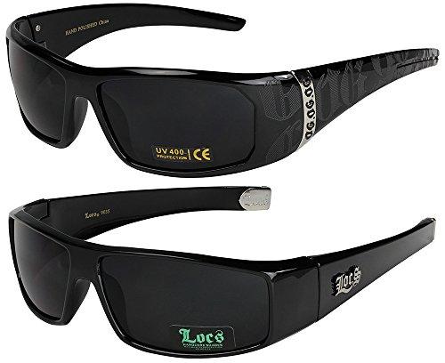 2 unidades Locs gafas de sol, gafas de moto, gafas deportivas en los colores blanco y negro 1x OG 2003 schwarz und 1x Locs 9035 schwarz Talla única