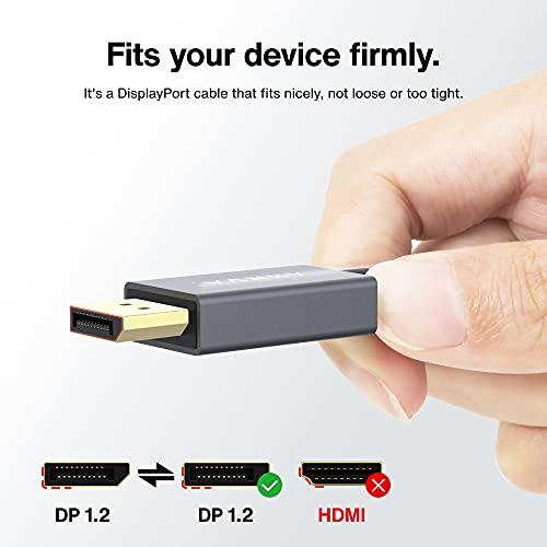 DisplayPort Kabel, 2M/4K, DisplayPort auf DisplayPort Kabel (4K@60Hz und 2K@144Hz), DP Kabel geeignet für Monitor,Gaming-Grafikkarte – 2M/ Grau (Verschlussfrei & aus Nylongeflecht) - 4