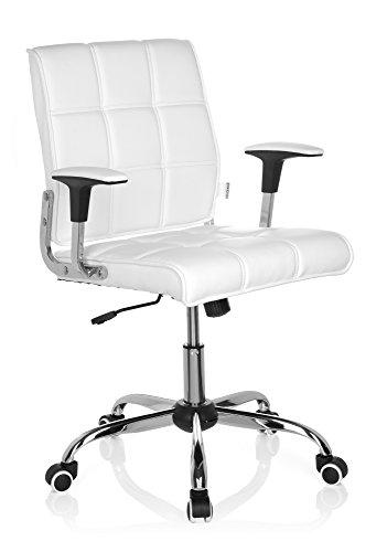 hjh OFFICE 719010 silla giratoria ERNESTO piel sintética blanco silla oficina con brazos estilo retro vintage