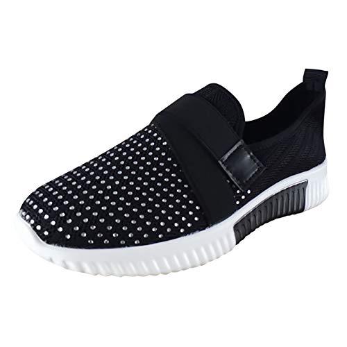 Zapatillas Deporte Mujer, Deportivas Sneaker Running Senderismo Transpirable Verano 2021 Cordones Baratas Blancas Vestir Gimnasio Platform Cuña Plantilla Regular Gimnasia (H18_Black,EU39)