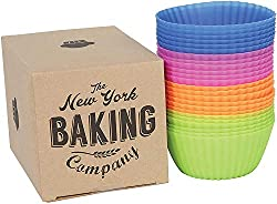 New York Baking Company box next to their silicone muffin cups of multi colors.