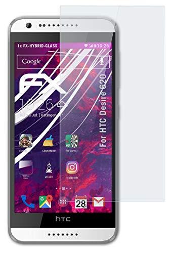 atFolix Glasfolie kompatibel mit HTC Desire 620 Panzerfolie, 9H Hybrid-Glass FX Schutzpanzer Folie
