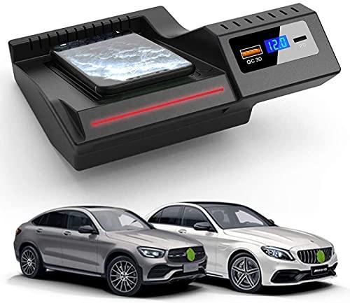 Cargador Inalámbrico Coche,para Mercedes-Benz Clase C GLC 2020 2019 2018 2017 2016 Panel de Accesorios Consola Central,Almohadilla Carga Rápida del Cargador del Teléfono 15W con QC3.0 USB y PD 18W