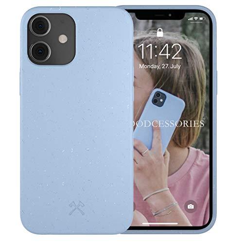Woodcessories - Antibakterielle Bio Hülle kompatibel mit iPhone 12 Mini Hülle hellblau - Plastikfrei, nachhaltig