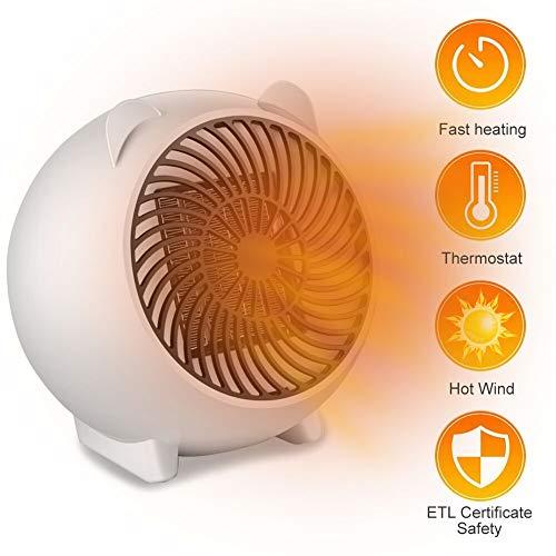 Mini Heizlüfter, Heiß Heißlüfter, Heizlüfter Energiesparend, Ventilator Heizlüfter, Luft Heizgerät Elektrische Tragbare Heizung, Elektrische Heizung für Wohnzimmer Badezimmer Büro, Überhitzungsschut