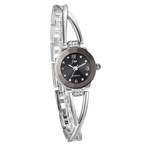 JewelryWe Damen Armbanduhr, Elegant Kreuzung Armband Design mit Strass mit Digital Zifferblatt Spangenuhr, Legierung, Silber