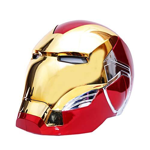 GYMAN Casco Iron Man 1: 1 Usable Elctrico De Apertura Y Cierre Mscaras Faciales Completas con Sensor Tctil Y El Saludo De Voz para Halloween Prop Regalo Cumpleaos,with Color Bracket