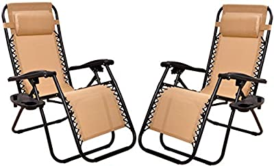 BalanceFrom Adjustable Zero Gravity Lounge Chair Recliners for Patio, Beige