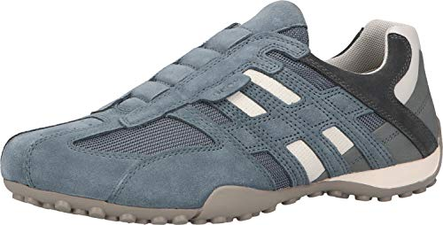 Geox UOMO Snake L, Zapatillas Bajas de Deporte. Hombre, Azul Jeans White, 40 EU