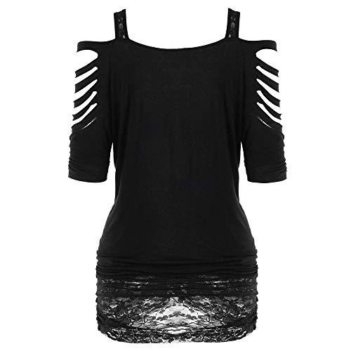 Ropa gótica para mujer, parte superior sexy, hombros descubiertos, falda, estampado de espaguetis, camiseta de manga corta, Negro , M