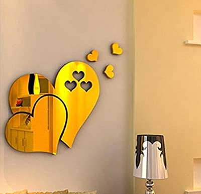 Lavany 3D Mirror Love Hearts Wall Stickers Decal DIY Home Room Art Mural Decor, Removable Wall Paper Home Decorative