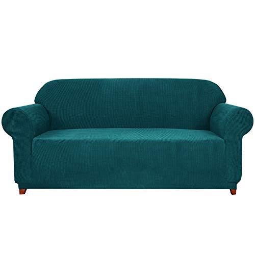 subrtex 1 Pieza Funda de Sofá Poliéster Elástica Cubierta de Asiento Forro de Sofá Doméstico(3 Plazas, Azul Verde)