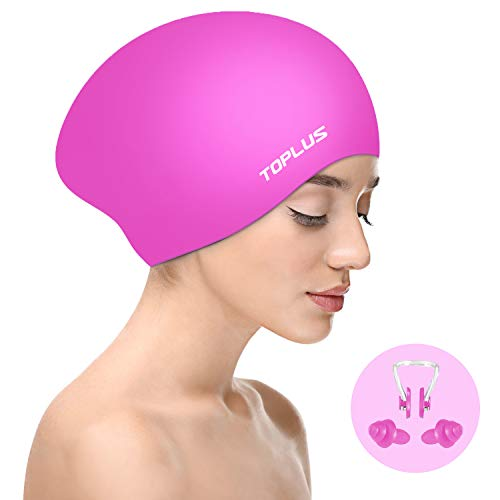 TOPLUS Swim Cap Women, Silicone Swimming Caps for Women Swim Caps for Long Hair Swim Cap Girls - 3D Ergonomic Design Comfortable and Durable Comes with Nose Clip & Ear Plugs