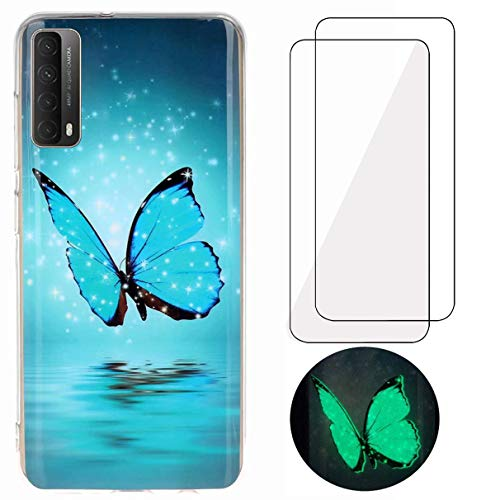 N+A YiKaDa - Hülle Kompatibel mit Huawei P Smart 2021 Hülle + [2 Stück] Panzerglas Schutzfolie, Superdünnes Weiches TPU Silikon - Glitzer Schmetterling