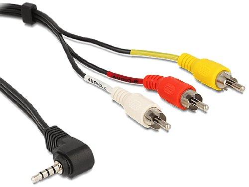 DELOCK Kabel Klinke 3,5mm 4 Pin ST gewinkelt auf 3x Cinch ST 1,5m