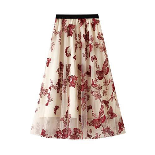 Styeclish Falda de Mariposa de Encaje Summer Princess Faldas de Tul Malla para Mujer Malla A-Line Faldas Femeninas Red One Size