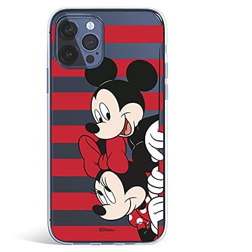 Funda para iPhone 12-12 Pro Oficial de Clásicos Disney Mickey y Minnie Asomados Rayas para Proteger tu móvil. Carcasa para Apple con Licencia Oficial de Disney.