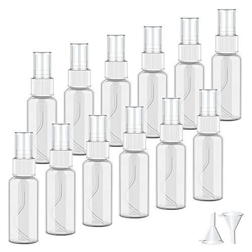12 * 30ML Sprühflasche Klein, Nachfüllbar Tragbares Kunststoff Zerstäuber Flaschen Sprayflasche leer Plastik Parfumzerstäuber mit Trichter Für Flugreisen oder Outdoor Sportarten
