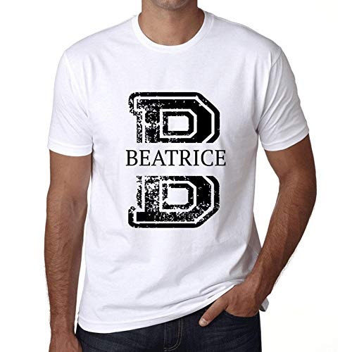 Cityone Uomo Maglietta Tee Vintage T Shirt Letter B Countries And Cities Beatrice Bianco