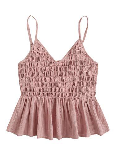 SheIn Women's Summer Printed Ruffle Hem Blouse Cami Sleeveless Peplum Top Pink Large