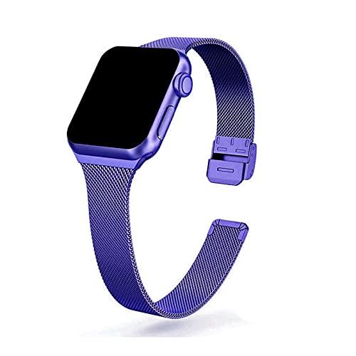 LAAGFC Correa de reloj de acero inoxidable de metal para Apple Watch de 44 mm, 40 mm, 38 mm, 42 mm, serie 6, 5, 4, 3, 2 y 1 SE (Color de la correa: morado brillante, tamaño: o 42 mm y 44 mm)