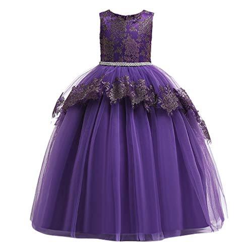 LuckyGirls Robes Élégantes Petite Fille Princesse Robe De Soirée Danse Enfants Filles Robe d'anniversaire Danse Décontractée Robes sans Manches