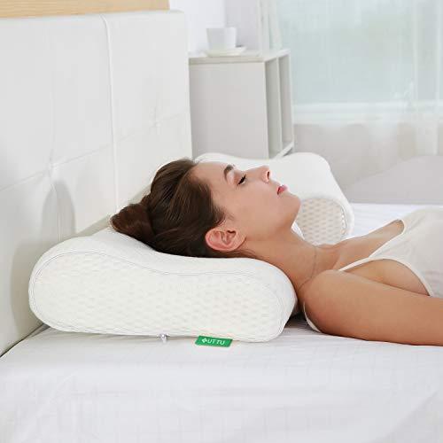 UTTU Memory Foam Kissen, Viskoelastisches Kissen, Seitenschläferkissen Nackenkissen, Abnehmbarer und Waschbarer Bambusbezug
